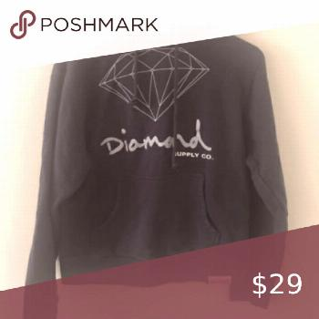 Diamond supply company hooded sweatshirt Black hoodie with white writing size M Diamond Supply Co.