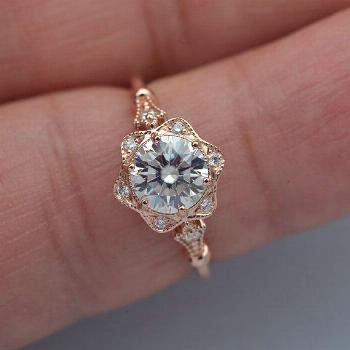 Engagement ring rose gold with halo moissanite vintage style with natural diamonds accents Forever