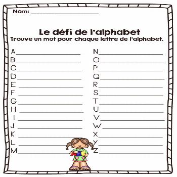 French - vocabulary game - find a word for every letter of the alphabet