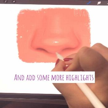 Glossy nose drawing and coloring tutorial Learn how to create a glossy nose with simple steps - eas