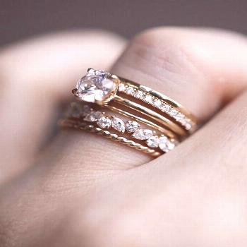 Great Snap Shots A mix of diamonds and 14k gold bands make for a one-of-a-kind wedding stack. Bui..