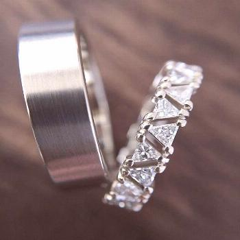 Here's a stunning custom made triangle diamond eternity ring! I paired it with my Men's Classic
