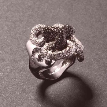Icon ring made with white and black diamonds | ForEverHug Me  From the jewellery collection ForEver