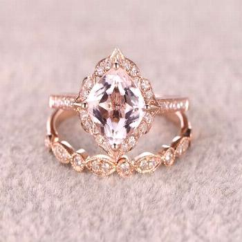 Marquise Ruby Ring with Round Diamonds in 14k Gold / Genuine Ruby Ring / Rose Gold Natural Ru... Ma