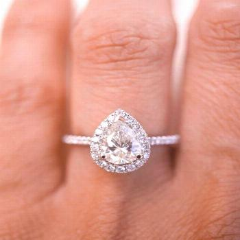 Most up-to-date Photos Pear Diamond Halo Engagement Ring in Platinum Setting with Round Diamonds, 1