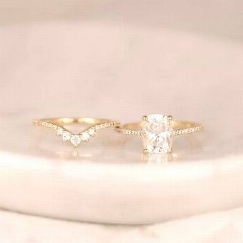 Rosados Box 2.30cts Blair 9x7mm & Aldis 14ktSolidGold F1 Moissanite DIA Rectangle Cushion WeddingSe