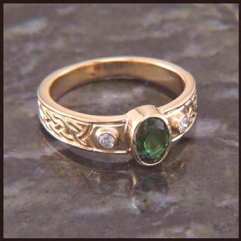 Three Stone Ring with Oval Gemstone and Diamonds -   -