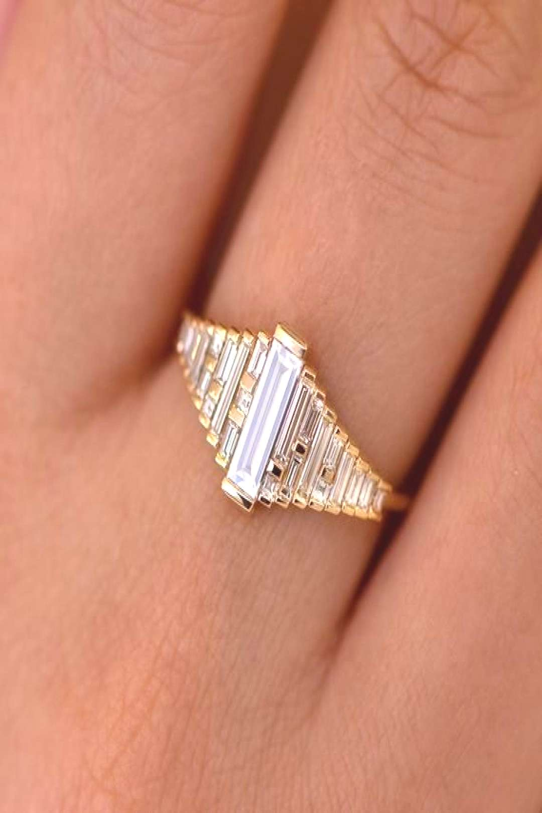 Baguette Diamond Ring with Gradient Diamonds and Gold Details -   -