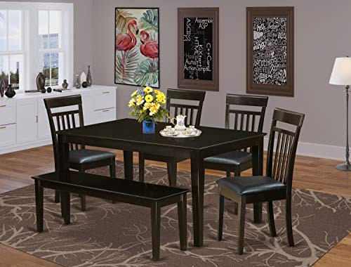 East West Furniture Dining Room Table Set 6 Piece - PU