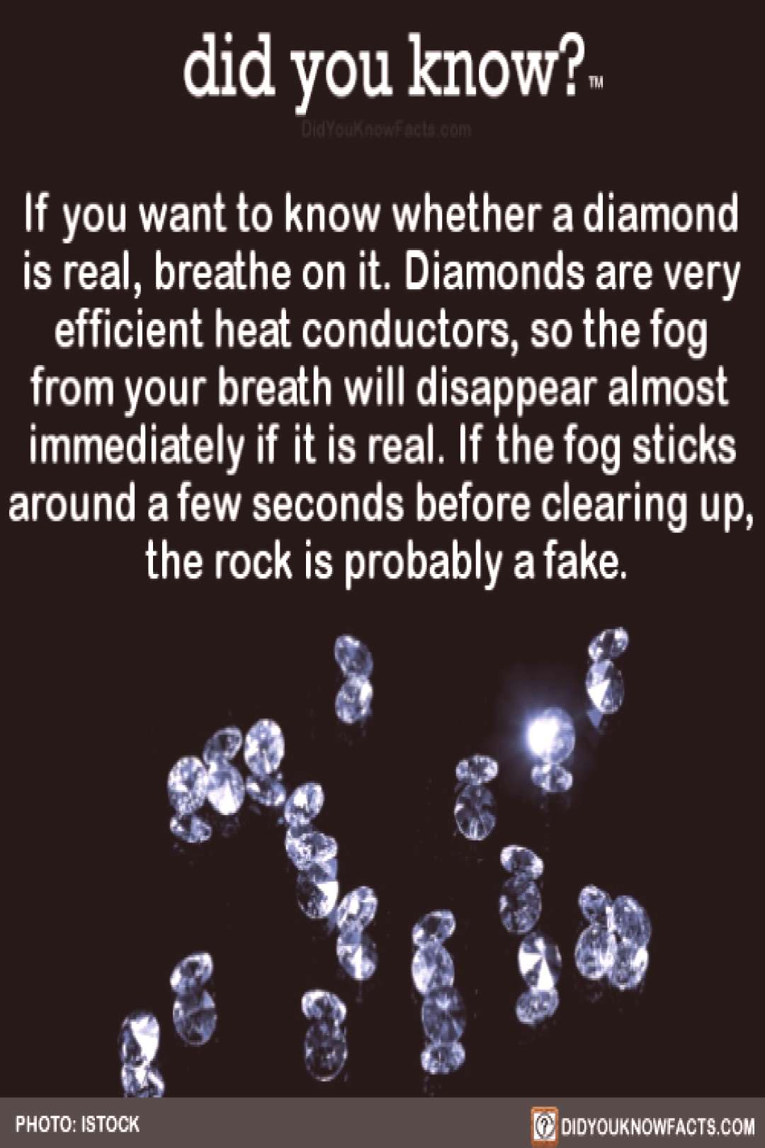 If you want to know whether a diamond is real, breathe on it. Diamonds are very efficient heat co