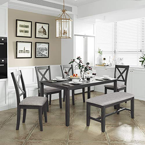 LUMISOL 6 Piece Dining Room Table Set with Bench, Wood Table