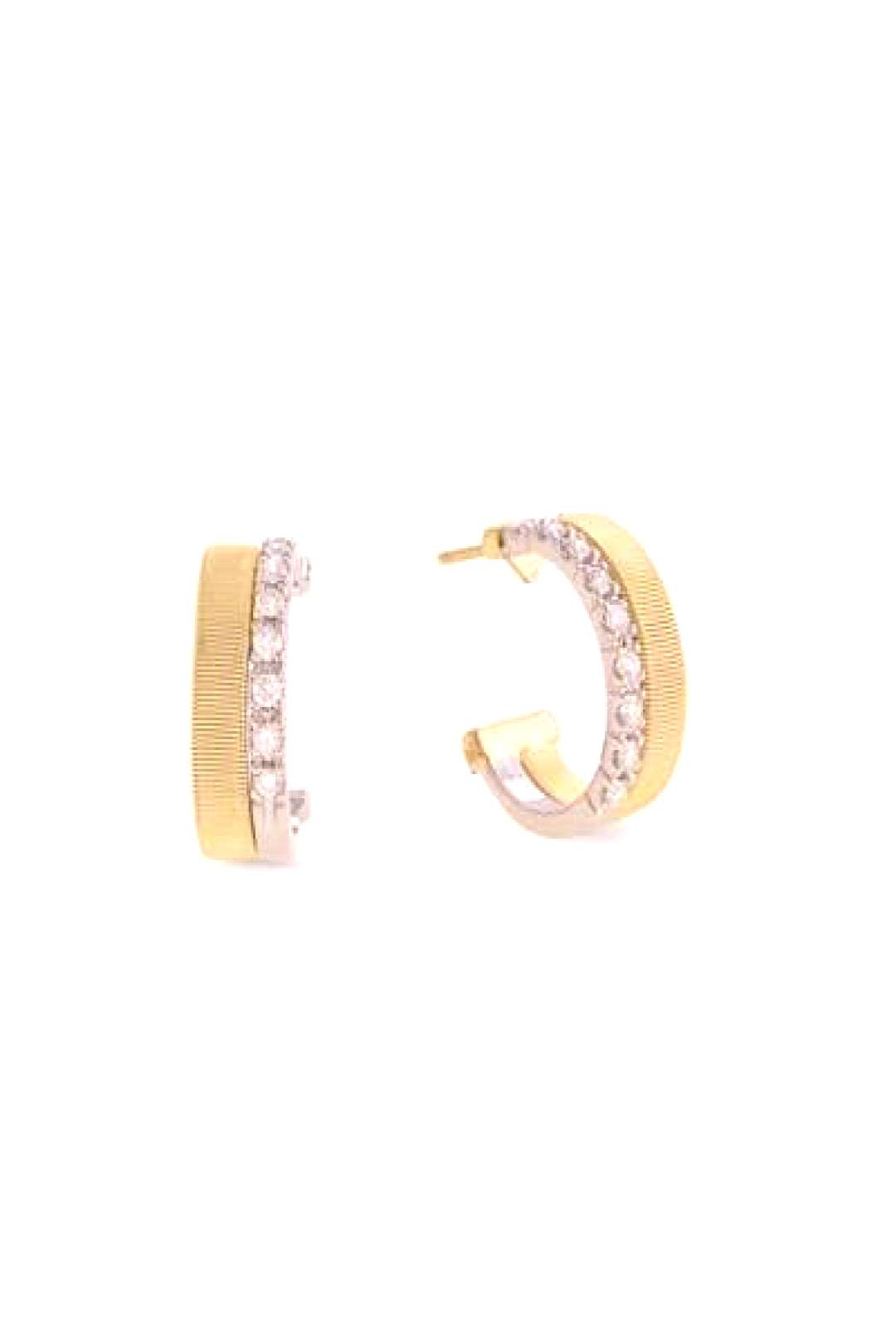 Marco Bicego Masai 18K White amp Yellow Gold Coil Hoop Earrings with Diamonds