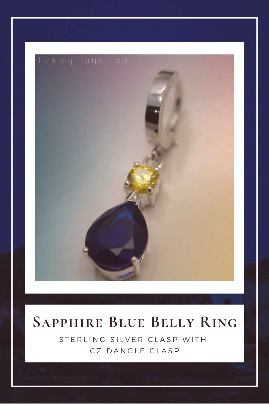 Sapphire Blue Belly Ring Beautiful solid silver belly ring, with a large pear shaped blue and yello