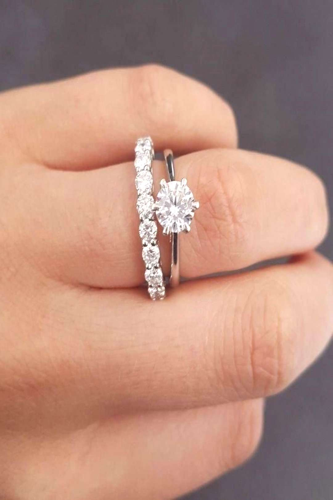 Solitair Classic Six Prong With Half Eternity Wedding Band 925 Silver Ring set# Diyajewels812 on e